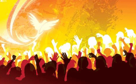 An image of the holy spirit over worshippers
